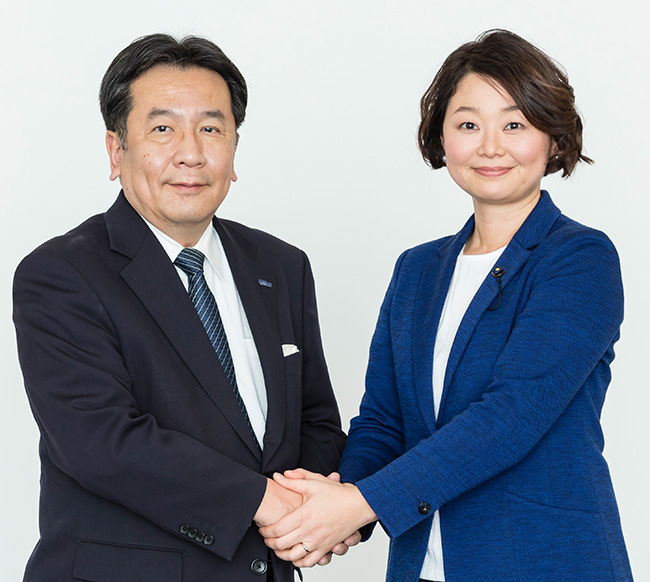 安藤じゅん子千葉県議会議員と立憲民主党代表枝野幸男衆議院議員