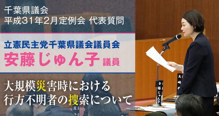 安藤じゅん子の代表質問「大規模災害児における行方不明者の捜索について」