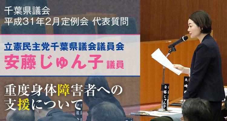 安藤じゅん子の代表質問「重度身体障害者への支援について」