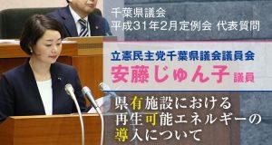 安藤じゅん子の代表質問「県有施設における再生可能エネルギーの導入について」