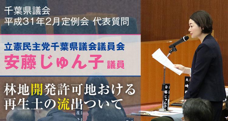 安藤じゅん子の代表質問「林地開発許可地における再生土の流出について」