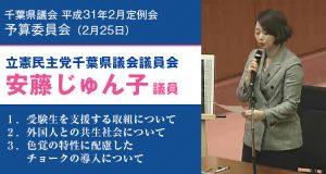2019年2月25日千葉県議会予算委員会にて質問する安藤じゅん子県議
