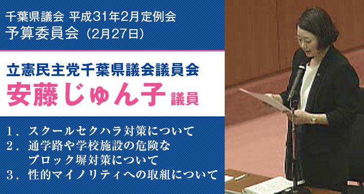 2019年2月27日千葉県議会予算委員会にて質問する安藤じゅん子県議